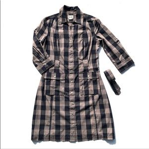 Gingham Button Front Belted Cargo T Shirt Dress